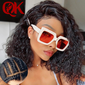 QueenKing hair BrazilianFake Scalp Bob Wig Curly Lace Front Human Hair Wigs 250%Density Invisible Remy PrePlucked Bleached Knots