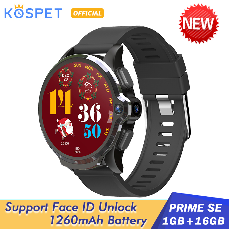 "2020 KOSPET Prime SE 1GB 16GB Android Smart Watch For Men 1260mAh 1.6"" Camera Face ID 4G Smartwatch GPS Connect Android IOS(China)"