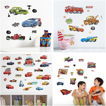 cartoon disney cars lightning mcqueen wall decals kids rooms home decor boy's gifts toys wall decals diy mural art pvc posters image