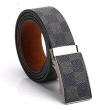 New luxury fashion trendy men belt plaid pattern high quanli