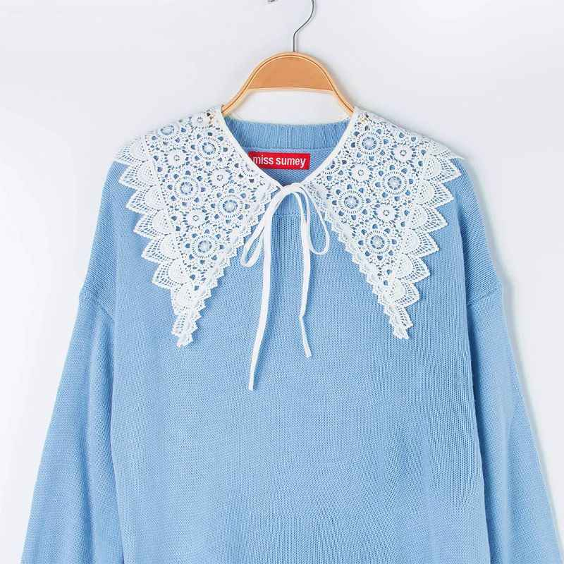 Korean Women Sweet Floral Lace False Collar Triangle Pointed Trim Lace Up Bowtie Half Shirt Decorative Sweater Clothing Shawl