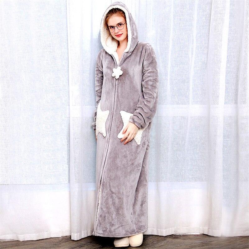 Femmes hommes hiver grande taille chaud flanelle peignoir Star Moon Extra Long épais polaire Robe de bain à capuche Robe de nuit Robe de nuit vêtements de nuit