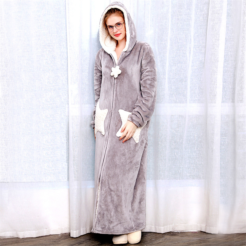 Women Men Winter Plus Size Warm Flannel Bathrobe Star Moon Extra Long Thick Fleece Bath Robe Hooded Night Dress Gown Sleepwear