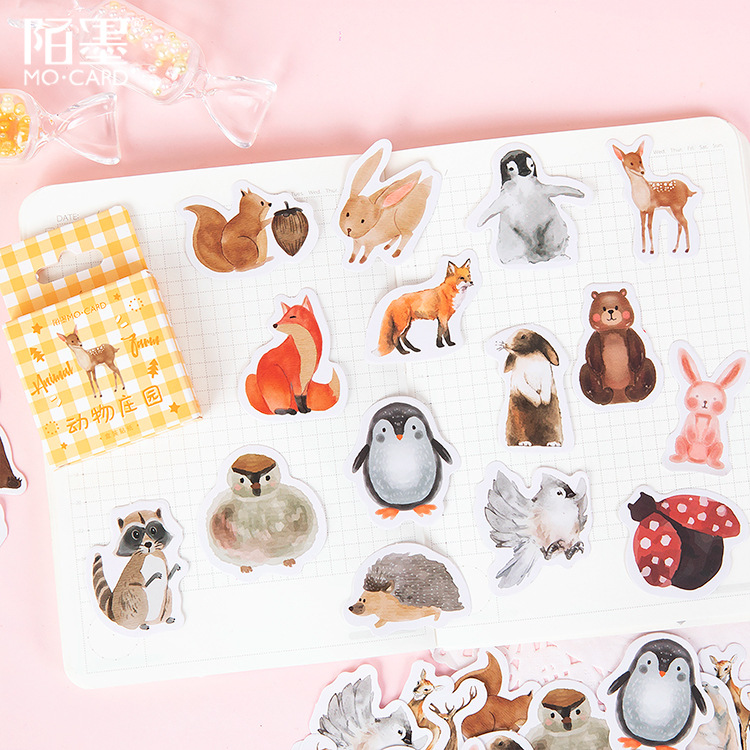 46pcs Cute Cartoon Animals Stickers Diy Stickers Decorative Sticker For Phone Diary Album Scrapbook Stationery