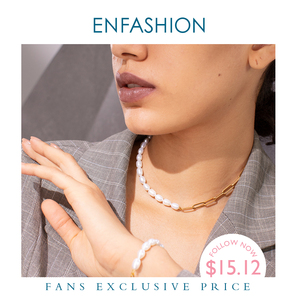 ENFASHION Natural Pearl Link Chain Choker Necklace Women Gold Color Stainless Steel Lady Necklace Fashion Femme Jewelry P193051