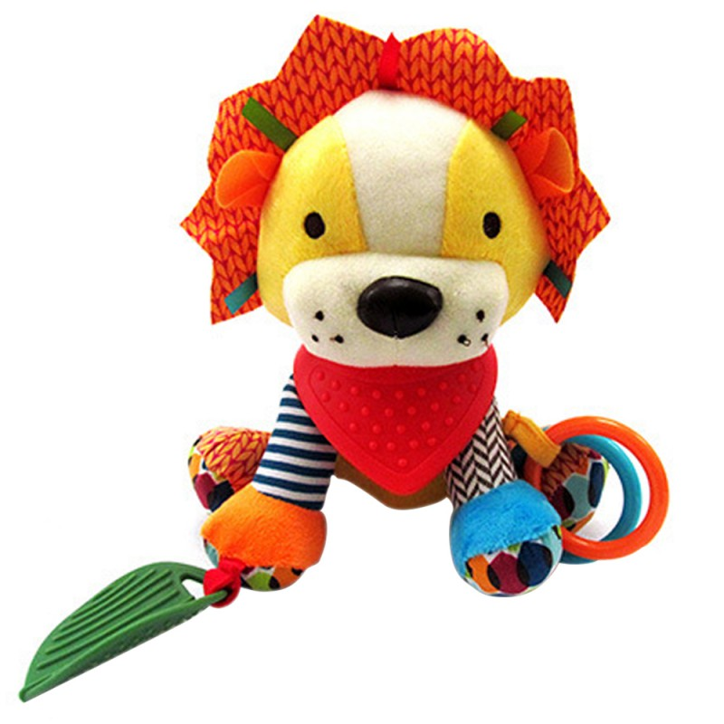 New Infants Rattles Animal Stroller Car Toys Clip Lathe Hanging Seat & Stroller Toys Lion Fox Mobile Music Educational Toys3