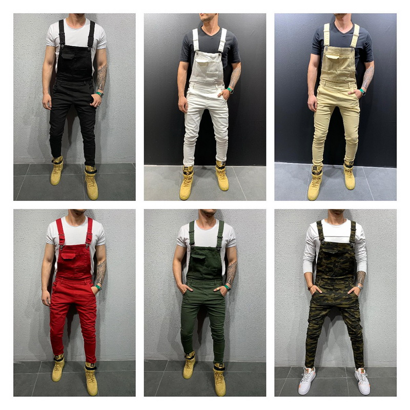 2019 High Street Pockets Jeans Men Fashion Slim Fit Denim Jumpsuits Modish Strap Overalls Casual Suspender Distressed Jeans Pant