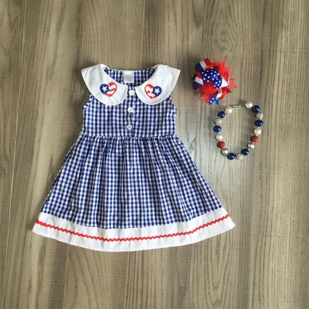 Baby Girls July 4th Dress Girls Woven Dress Girls Plaid Dress With Accessories