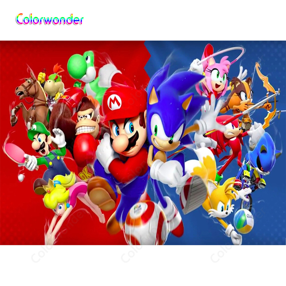 Red With Blue Backgrounds Cartoon Game World Photography Carpenter With Blue Hedgehog Sonic Kids Birthday Backdrops For Studio Background Aliexpress
