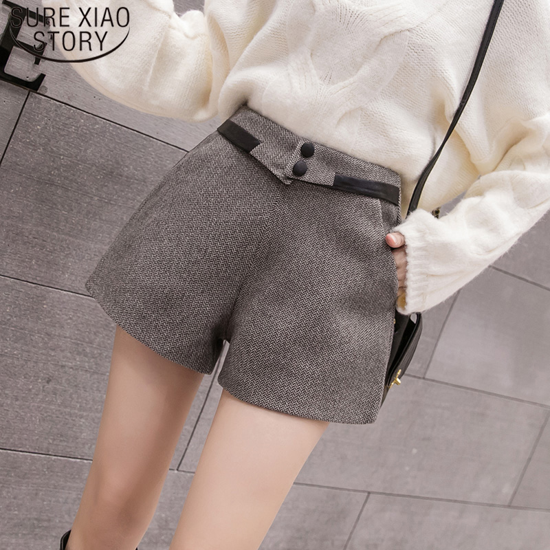 Elegant Leather Shorts Fashion High Waist Shorts Girls A-line  Bottoms Wide-legged Shorts Autumn Winter Women 6312 50 25