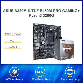 ASUS TUF B450M-PRO GAMING Motherboard AMD B450/AM4 AMD Ryzen 5(r3) 3200G Quad Core Processor CPU Motherboard Set image