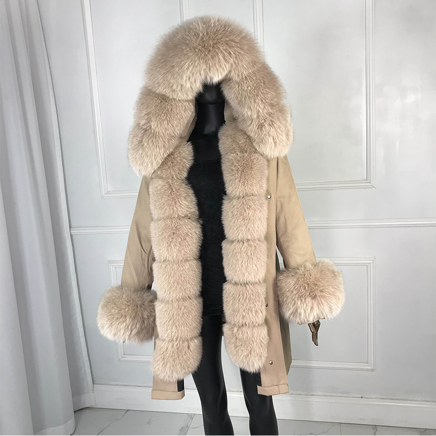 Real fox fur parka women inside real fur   lined parkas with fox fur hood women parkas