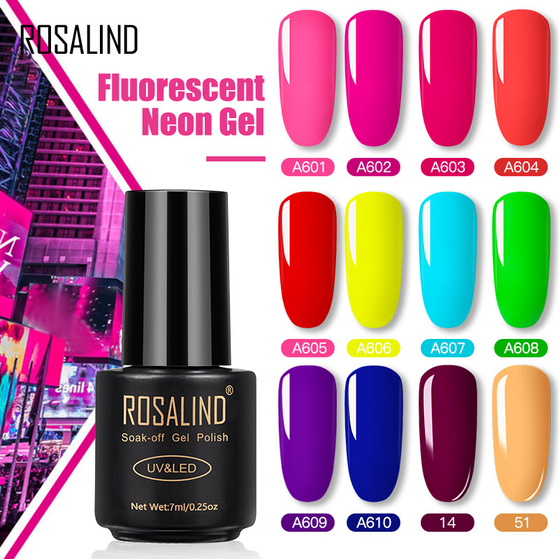 ROSALIND Neon Gel Polish varnishes Hybrid Nails For Manicure 7ML Semi Permanent Soak off Primer Base Top Coat Gel Nail Polish(China)