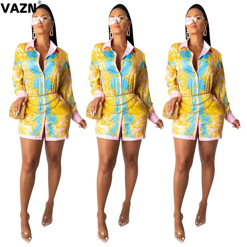 VAZN SD9158 nueva moda amarilla diseño superior elegante vestido de mujer estampado cuello vuelto manga larga Midi playa corta vestido