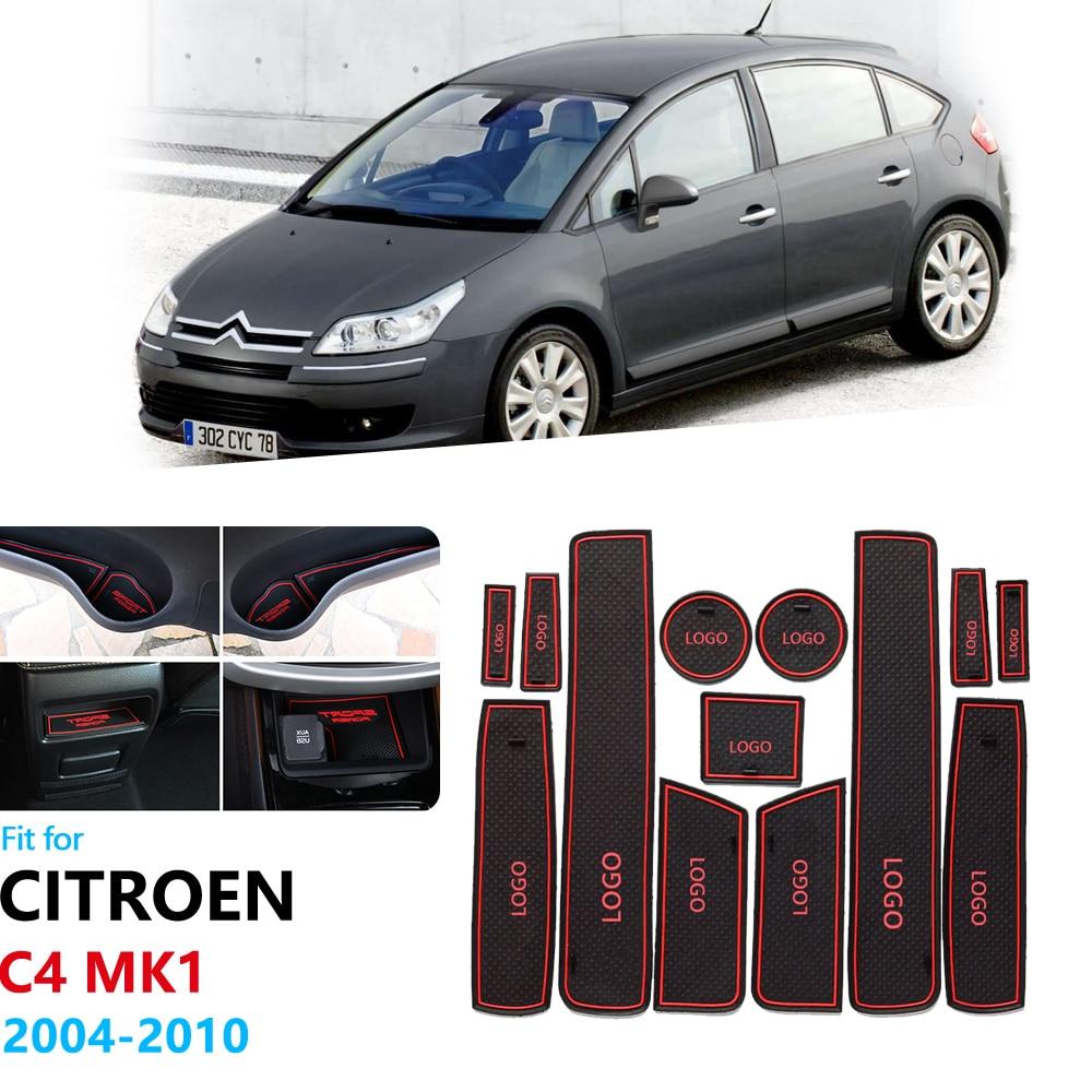 Anti-Slip Rubber Gate Slot Cup Mat For Citroen C4 2004 2005 2006 2007 2008 2009 2010 Pallas Coupe Hatch Sedan Door Groove Mat