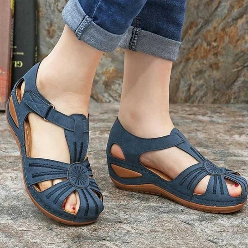Kadın sandalet yaz bayanlar kızlar deri bağbozumu sandalet toka rahat dikiş kadın ayakkabı düz kadın bayanlar Platform ayakkabılar