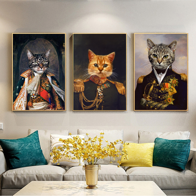 Exotic Retro Dog Cat Head Animal Oil Painting on Canvas Wall Art Posters Prints for Living Room Wall Pictures Home Decor Cuadros(China)