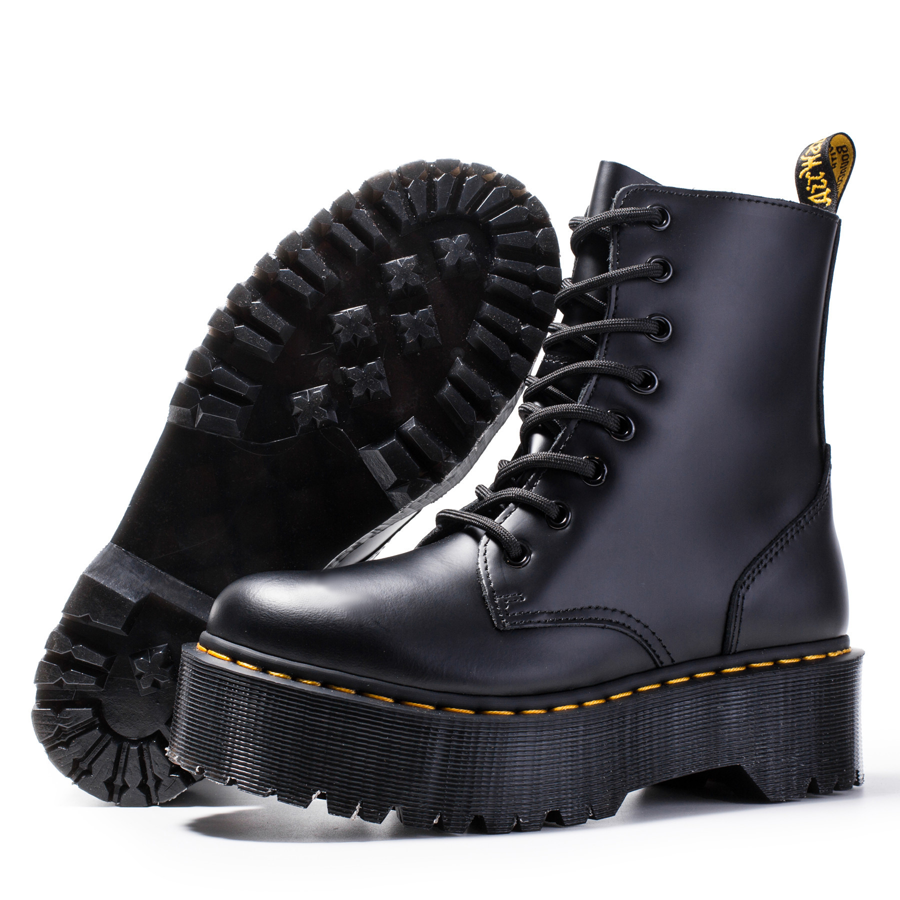 Women Boots Genuine Leather Boots Black Martens Boots For Women Ankle Boots Dr Motorcycle Shoes Thick Heel Platform Winter Shoes