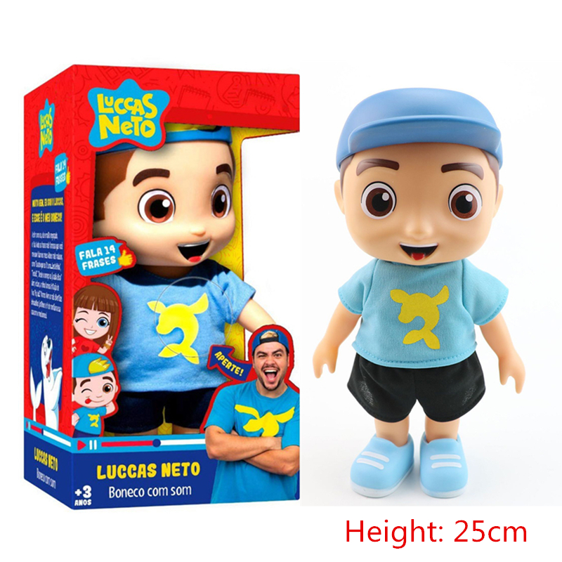 25cm Cute Luccas Neto Movie Action Figure Vinyl Doll Talking Toys With Sound Collection Model Kids Toys Christmas Birthday Gifts