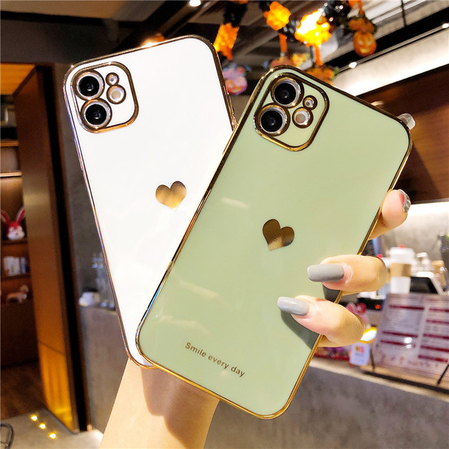 Electroplated Love Heart Phone Case For iPhone 12 Pro 11 Pro Max XR X XS Max 7 8 Plus Soft Silicone Camera Protective Back Cover 4