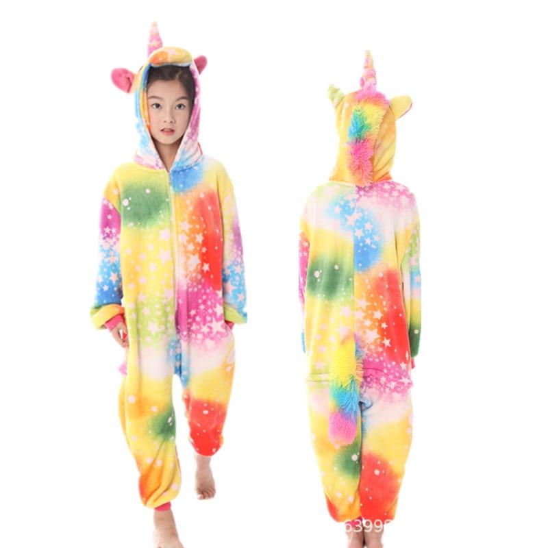 arco iris pijama meninos roupas da menina do bebe pijamas animais 4 10y 05
