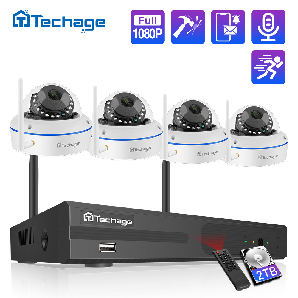 Techage 8CH 1080P Wireless NVR Kit CCTV Security System Audio Record 2 0MP Indoor Dome WiFi IP Camera P2P Video Surveillance Set