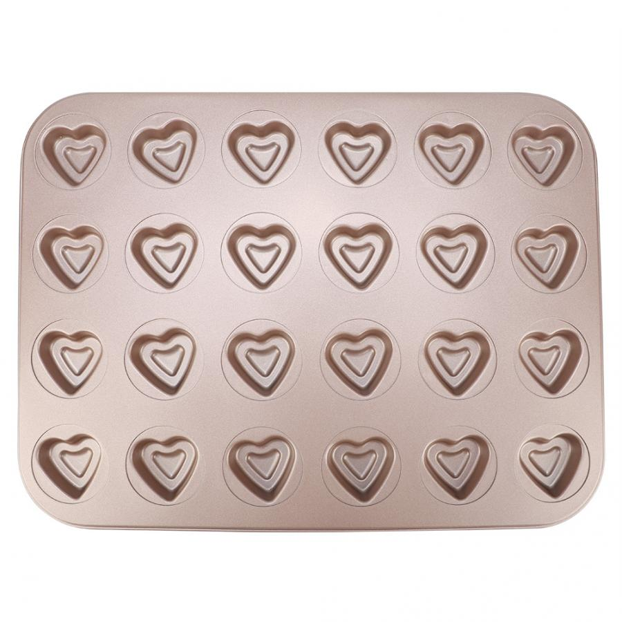 Cream Cakes Baking Dish Cute Heart Shaped 24 Grids DIY Cake Baking Tray Non-Stick Baking Mold For Home Kitchen Pastry