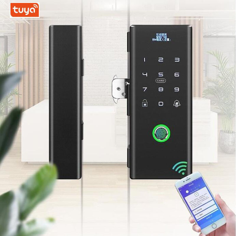 Smart Glass Door Biometric fingerprint lock RFID Card Code Remote control Phone App Wifi Tuya Office Electric Lock Access contro title=