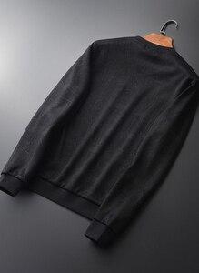 Image 2 - Minglu Black Inner Velvet Sweatshirt Men Luxury Round Collar Jacquard Winter Sweatshirt Male Plus Size 4xl Slim Fit Mens Hoodies