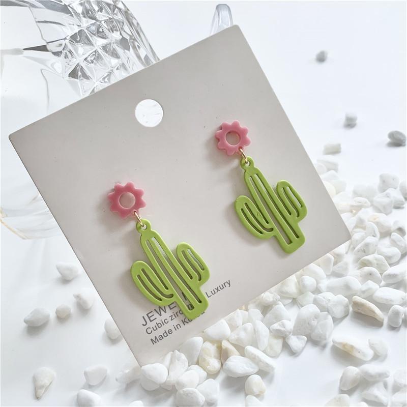 Color Flower Cactus Earrings Korea Simple Sweet Cute Pink Yellow Acrylic Pendant Earrings Fashion Exaggerated Jewelry Women(China)