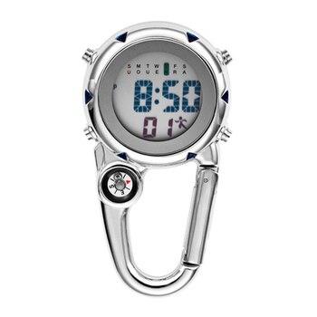 Digital Carabiner Clip Sport Hook Clock Hospital Gift Electronic Luminous Multi-function Stainless Steel FOB Nurse Watch Outdoor