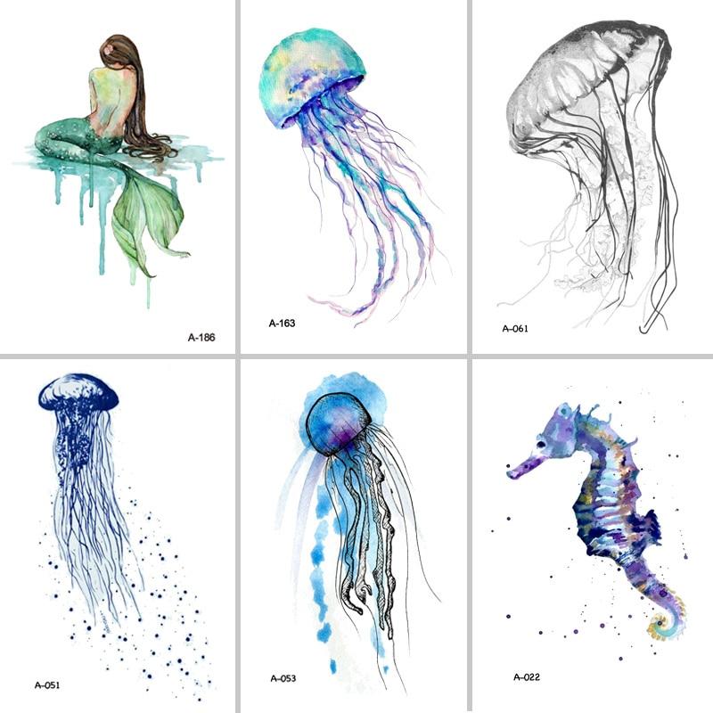 Wyuen Hot Design Jellyfish Temporary Tattoo for s Waterproof Tatoo Sticker Ocean Animal Women Body Art Fake Tattoo A-051