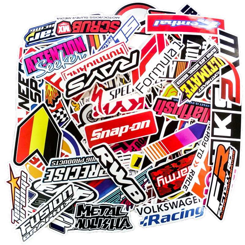 100PCS Racing Stickers Car Waterproof Sticker DIY Motocross Racing Helmet Skateboard Bicycle Laptop PVC JDM Luggage Sticker HKS
