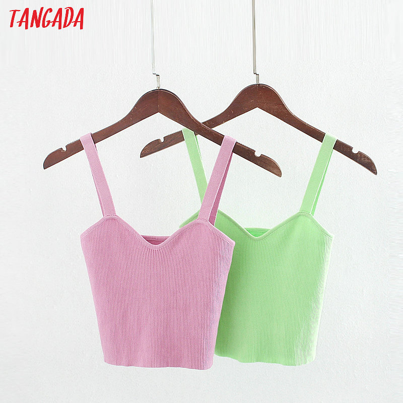 Tangada Women Strehy Knit V Neck Camis Top Spaghetti Strap Sleeveless Backless Blouses Shirts Female Casual Solid Tops 3L42