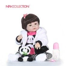 56CM NPK boneca reborn silicone completa Full Vinyl Silicone Reborn Baby Doll Toys Lifelike Child Birthday Gift bath toy