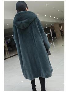 Skirt Coat Mink-Fur-Jacket Winter Women Hood Whole-Fur X-Long Thick with Warm Female