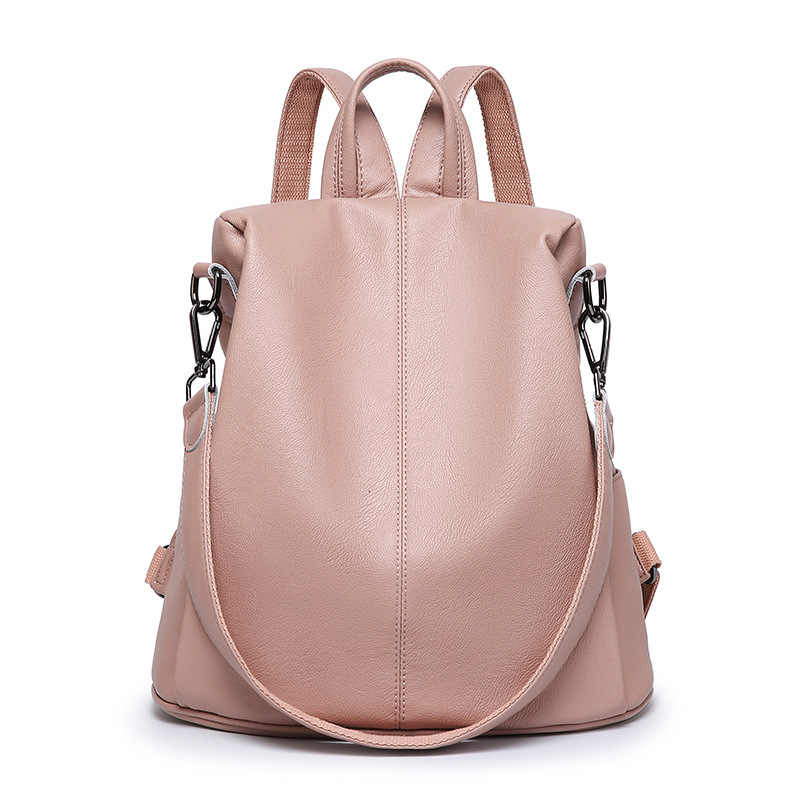 New Style Fashion Women Leather Backpacks Lady Solid Zipper Tassel Satchel School Travel Bags mochila women's rucksack hot C1133