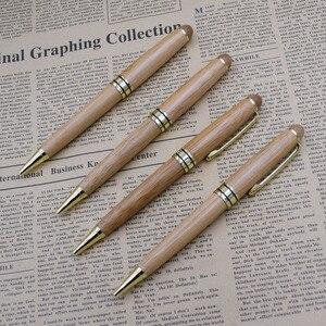 Image 1 - (12 Teile/los) luxus Bambus Stifte für Schreiben Werkzeug Schreibwaren Schreibwaren Schule Büro Zubehör 0,5mm Schwarz Tinte Kugelschreiber