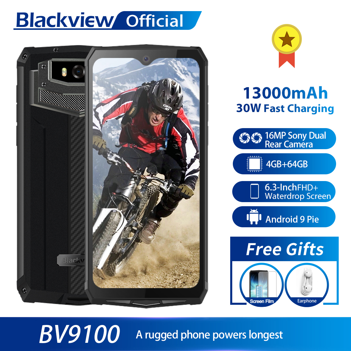 Blackview BV9100 IP68 Waterproof Cellphone 13000mAH 30W Fast Charging 4G Mobile Phone MTK6765 4GB+64GB 16.0MP Rugged Smartphone