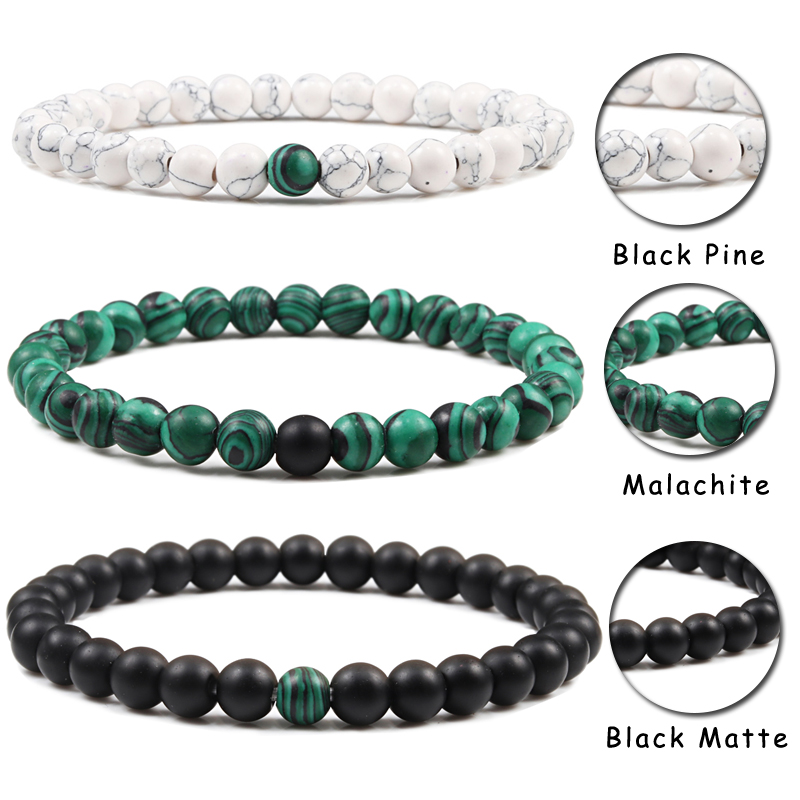 Couples Distance Beads Bracelet Classic Black Matte Green Malachite Bracelets Suitable Women Men Yoga Elastic Strand Jewelry 4
