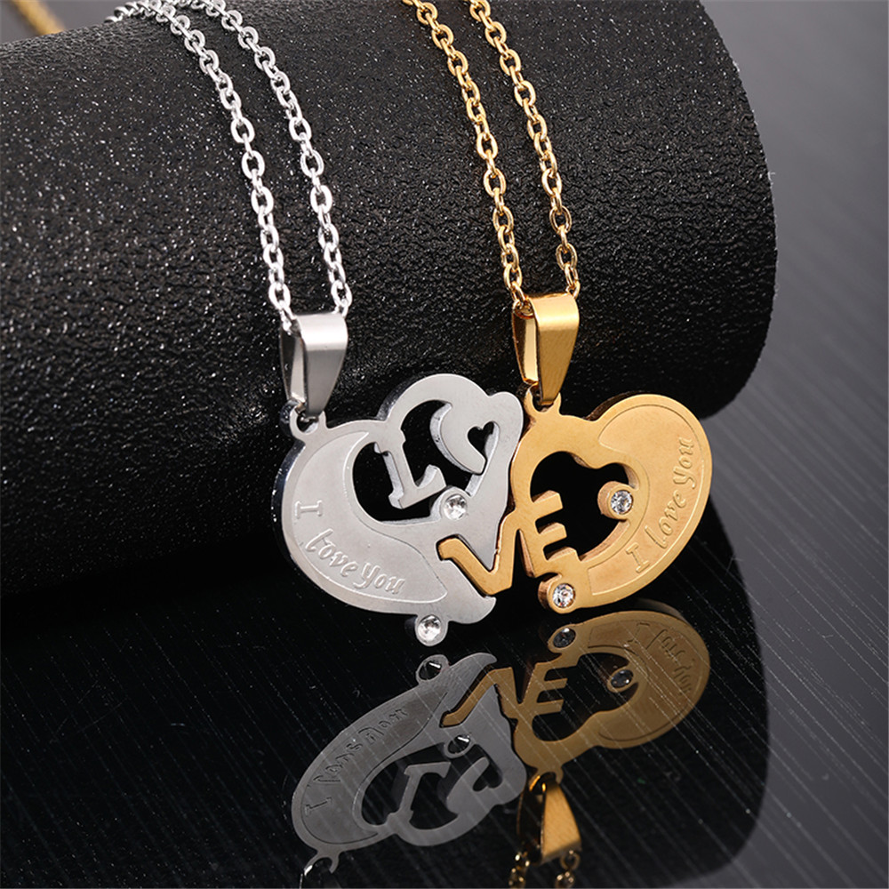 1 Paired Fashion Couple Heart Pendant Necklace Gold Silver Color Stainless Steel BFF Necklace Lovers Jewelry Best Friend Forever