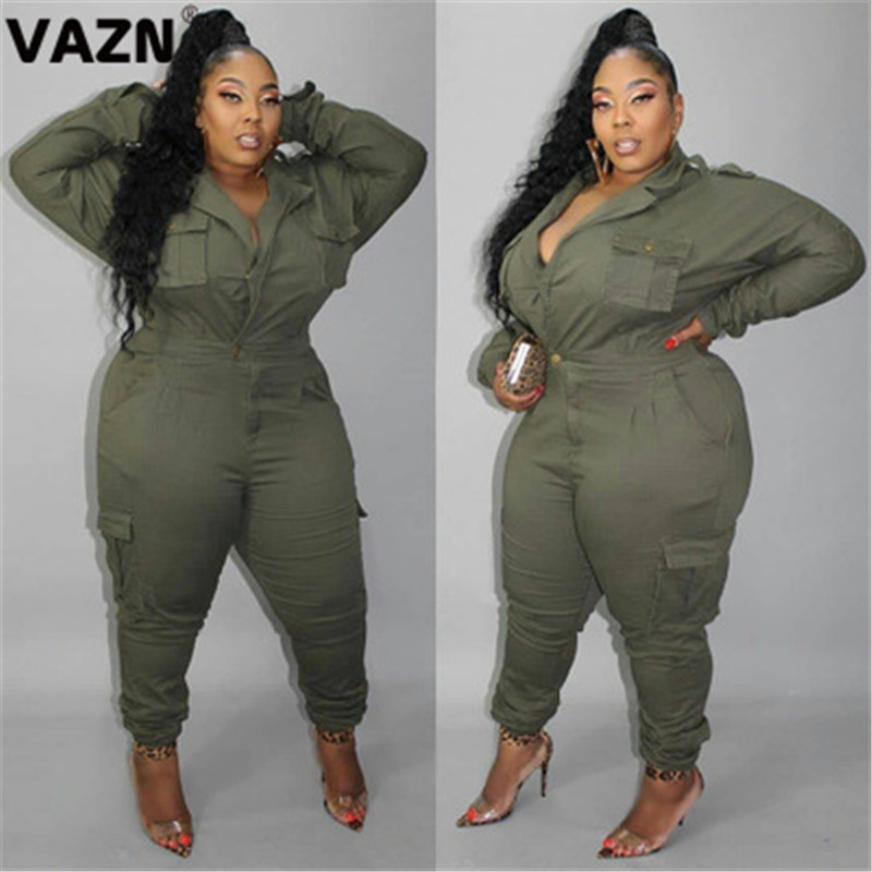 VAZN New 2020 Hot Fashion V-neck Solid Safari Style High Street Jumpsuits Casual Bodycon Sexy Long Pants Slim Long Jumpsuit