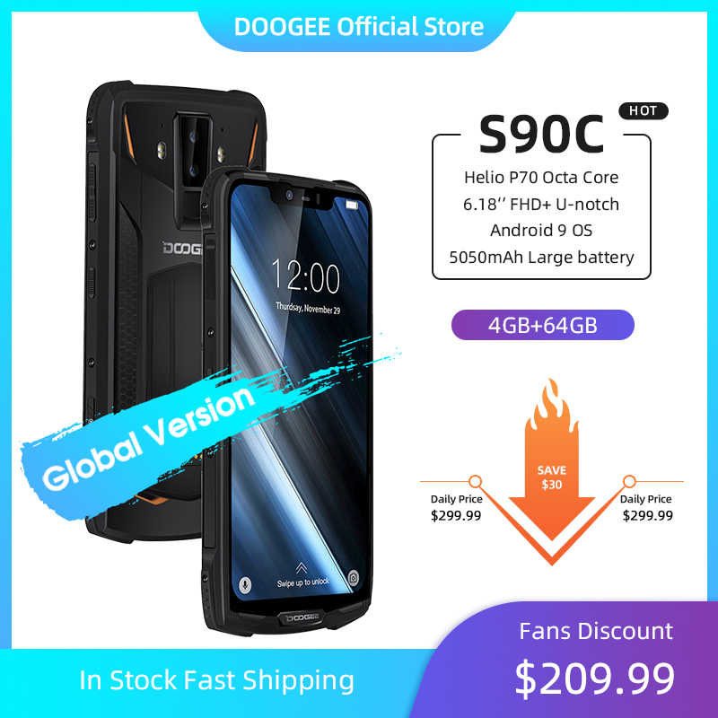 IP68 DOOGEE S90C téléphone portable robuste modulaire 6.18 pouces affichage 12V2A 5050mAh Helio P70 Octa Core 4GB 64GB 16MP + 8MP Android 9.0