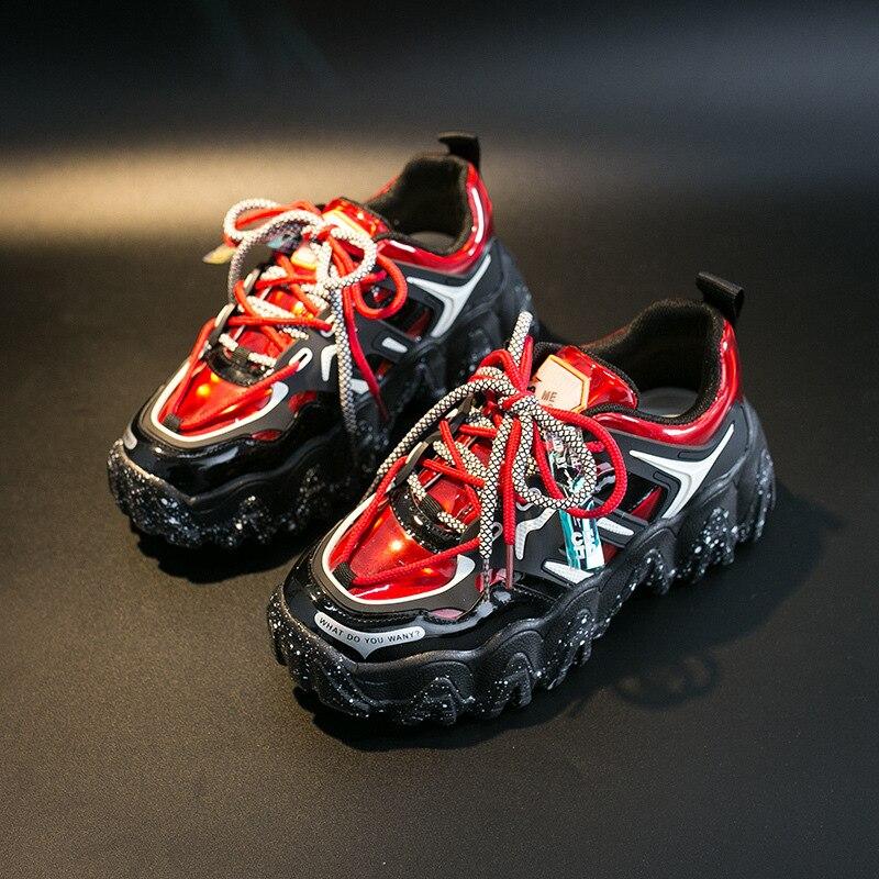 2020 neue Frauen Schuhe Schwarz Rot Trend Turnschuhe Ulzzang Plattform Turnschuhe Weibliche Trainer Bequeme Beiläufige Schuhe Frauen Snekaers