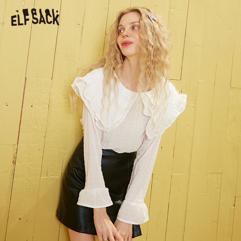 ELFSACK White Solid Peter Pan Collar Casual Preppy Blouse Women 2020 Spring Vintage Ruffles Long Sleeve Casual Ladies Daily Tops