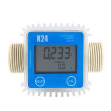 K24 Digital LCD Fuel Flow Meter Turbine Diesel Fuel Flow Meter Adjust Liquid Flow Meters Fuel Flow Tester Measuring Tools