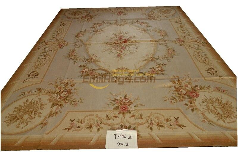 French Aubusson Carpets Tx196 Blue Pastel Camel Beige Design Shabby  Gc8aubyg13