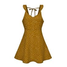 купить Women Summer Sexy Deep V-Neck Mini A-Line Dress Retro Polka Dot Backless Lace Up Sleeveless Ruffled Strap Casual Beach Sundress по цене 297.65 рублей