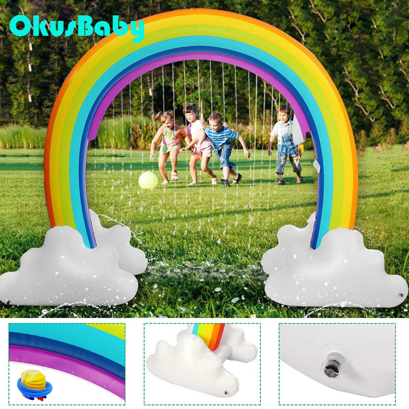 Summer Outdoor Garden Lawn Rainbow Door Bridge Inflatable Spray Water Children Home Play Water Toy Beach Game With Free Pump