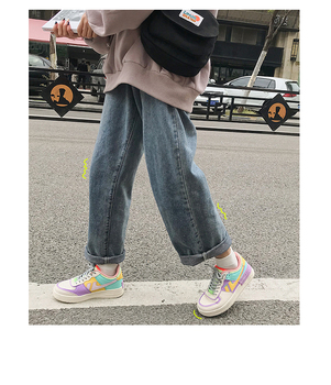 Rainbow air force candy macarone shoes spring sports shoes students Korean version Ulzzang Street women's shoes ins